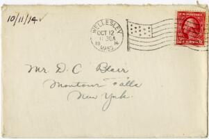Letter from Eleanor Blair, Wellesley, Massachusetts, to Mr. D.C. Blair, Montour Falls, New York, 1914 October 11