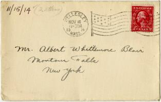 Letter from Eleanor Blair, Wellesley, Massachusetts, to Mr. A.W. Blair, Montour Falls, New York, 1914 November 15