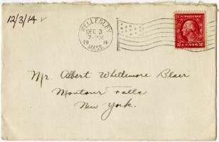 Letter from Eleanor Blair, Wellesley, Massachusetts, to Mr. A.W. Blair, Montour Falls, New York, 1914 December 3