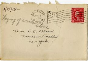 Letter from Eleanor Blair, Wellesley, Massachusetts, to Mrs. D.C. Blair, Montour Falls, New York, 1915 January 17
