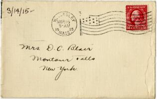 Letter from Eleanor Blair, Wellesley, Massachusetts, to Mrs. D.C. Blair, Montour Falls, New York, 1915 March 14