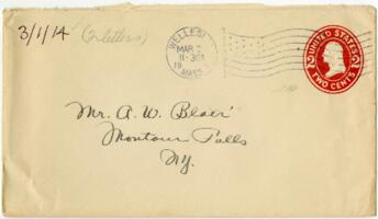 Letter from Eleanor Blair, Wellesley, Massachusetts, to Mr. A.W. Blair, Montour Falls, New York, 1914 March 1
