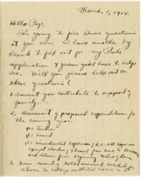 Letter from Eleanor Blair, Wellesley, Massachusetts, to Mr. D.C. Blair, Montour Falls, New York, 1914 March 1