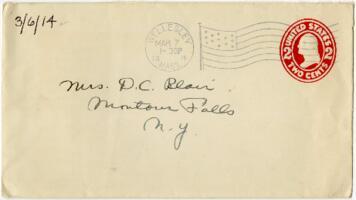 Letter from Eleanor Blair, Wellesley, Massachusetts, to Mrs. D.C. Blair, Montour Falls, New York, 1914 March 6