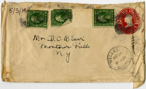 Letter from Eleanor Blair, Wellesley, Massachusetts, to Mr. D.C. Blair, Montour Falls, New York, 1914 May 3