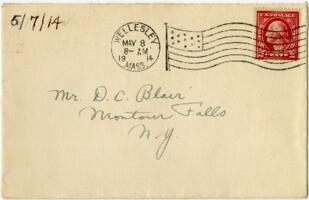 Letter from Eleanor Blair, Wellesley, Massachusetts, to Mr. D.C. Blair, Montour Falls, New York, 1914 May 7