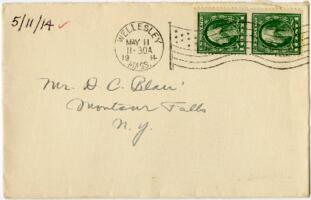 Letter from Eleanor Blair, Wellesley, Massachusetts, to Mr. D.C. Blair, Montour Falls, New York, 1914 May 11