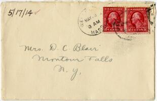 Letter from Eleanor Blair, Wellesley, Massachusetts, to Mrs. D.C. Blair, Montour Falls, New York, 1914 May 17