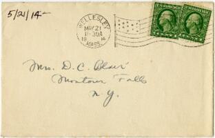 Letter from Eleanor Blair, Wellesley, Massachusetts, to Mrs. D.C. Blair, Montour Falls, New York, 1914 May 21