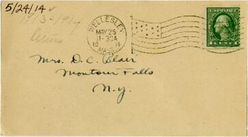 Postcard from Eleanor Blair, Wellesley, Massachusetts, to Mrs. D.C. Blair, Montour Falls, New York, 1914 May 24