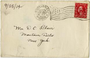 Letter from Eleanor Blair, Wellesley, Massachusetts, to Mr. D.C. Blair, Montour Falls, New York, 1914 September 25