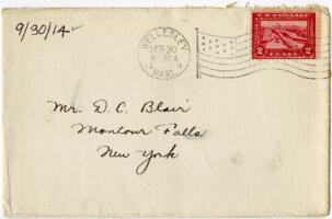 Letter from Eleanor Blair, Wellesley, Massachusetts, to Mr. D.C. Blair, Montour Falls, New York, 1914 September 30