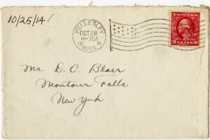 Letter from Eleanor Blair, Wellesley, Massachusetts, to Mr. D.C. Blair, Montour Falls, New York, 1914 October 25