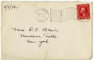 Letter from Eleanor Blair, Wellesley, Massachusetts , to Mrs. D.C. Blair, Montour Falls, New York, 1914 November 1