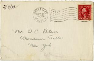 Letter from Eleanor Blair, Wellesley, Massachusetts, to Mr. D.C. Blair, Montour Falls, New York, 1914 November 8