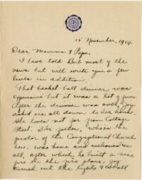Letter from Eleanor Blair, Wellesley, Massachusetts, to Mr. and Mrs. D.C. Blair, Montour Falls, New York, 1914 November 15