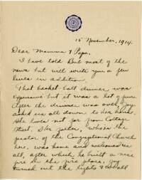 Letter from Eleanor Blair, Wellesley, Massachusetts, to Mr. and Mrs. D.C. Blair, Montour Falls, New York, 1914 November 15