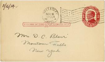 Postcard from Eleanor Blair, Wellesley, Massachusetts, to Mrs. D.C. Blair, Montour Falls, New York, 1914 November 16