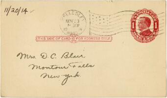 Postcard from Eleanor Blair, Wellesley, Massachusetts, to Mrs. D.C. Blair, Montour Falls, New York, 1914 November 20
