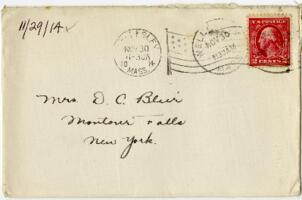 Letter from Eleanor Blair, Wellesley, Massachusetts , to Mrs. D.C. Blair, Montour Falls, New York, 1914 November 29