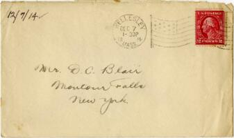 Letter from Eleanor Blair, Wellesley, Massachusetts, to Mr. D.C. Blair, Montour Falls, New York, 1914 December 7