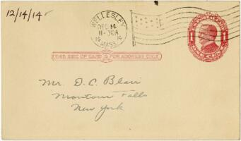 Postcard from Eleanor Blair, Wellesley, Massachusetts , to Mr. D.C. Blair, Montour Falls, New York, 1914 December 14