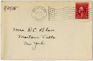 Letter from Eleanor Blair, Wellesley, Massachusetts , to Mrs. D.C. Blair, Montour Falls, New York, 1915 January 10