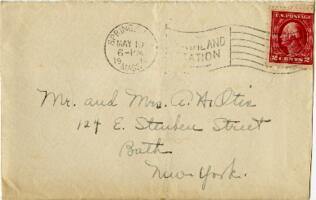 Letter from Janet E. Davison, Springfield, Massachusetts, to Mr and Mrs. A. H. Otis, Bath, New York, 1914 May 10