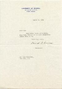 Note from David C. Borrow, University of Georgia, Athens, Georgia, to Hugh S. Fullerton, New York, New York : typed manuscript signed, 1925 August 12