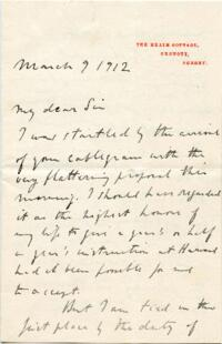 Letter from Bernard Bosanquet, Oxshott, Surrey, England, to A. Lawrence Lowell : autograph manuscript signed, 1912 March 9