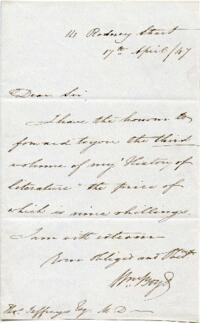 Letter from William Boyd, England?, to Thomas Jeffreys : autograph manuscript signed, 1847 April 17