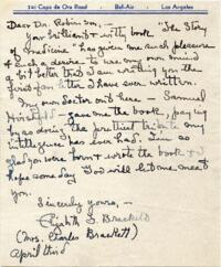Letter from Elizabeth Fletcher Brackett, Los Angeles, California, to Victor Robinson : autograph manuscript signed, 1931 April 3