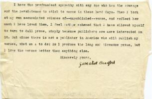 Letter from Gamaliel Bradford, Wellesley Hills, Massachusetts?, to an unidentified recipient : typed manuscript signed, between 1912 and 1932