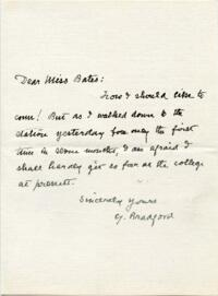 Letter from Gamaliel Bradford, Wellesley Hills, Massachusetts?, to Katharine Lee Bates : autograph manuscript signed, between circa 1880s and 1929