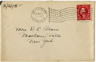 Letter from Eleanor Blair, Wellesley, Massachusetts, to Mrs. D.C. Blair, Montour Falls, New York, 1915 February 20