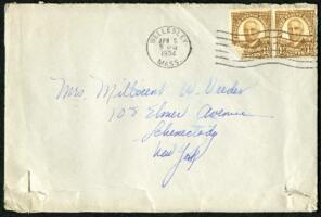 Letter from Virginia Veeder Westervelt, Wellesley, Massachusetts, to Mrs. Millicent Veeder, Schenectady, New York, 1934 April 5