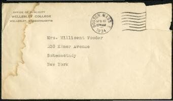 Letter from Virginia Veeder Westervelt, Wellesley, Massachusetts, to Mrs. Millicent Veeder, Schenectady, New York, 1934 April 10