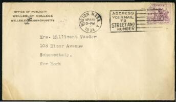 Letter from Virginia Veeder Westervelt, Wellesley, Massachusetts, to Mrs. Millicent Veeder, Schenectady, New York, 1934 April 19