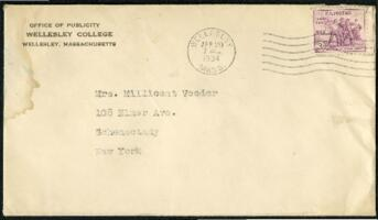 Letter from Virginia Veeder Westervelt, Wellesley, Massachusetts, to Mrs. Millicent Veeder, Schenectady, New York, 1934 April 20