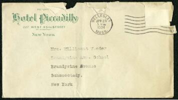Letter from Virginia Veeder Westervelt, Wellesley, Massachusetts, to Mrs. Millicent Veeder, Schenectady, New York, 1934 April 23