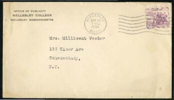 Letter from Virginia Veeder Westervelt, Wellesley, Massachusetts, to Mrs. Millicent Veeder, Schenectady, New York, 1934 April 28