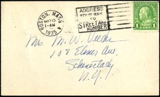 Postcard from Virginia Veeder Westervelt, Wellesley, Massachusetts, to Mrs. Millicent Veeder, Schenectady, New York, 1935 May 14