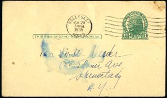 Postcard from Virginia Veeder Westervelt, Wellesley, Massachusetts, to Mrs. Millicent Veeder, Schenectady, New York, 1935 May 20