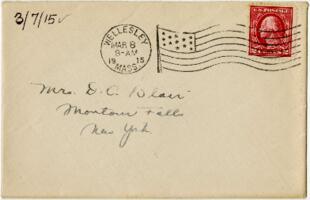 Letter from Eleanor Blair, Wellesley, Massachusetts, to Mrs. D.C. Blair, Montour Falls, New York, 1915 March 7