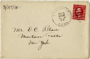 Letter from Eleanor Blair, Lakeville, Connecticut, to Mr. D.C. Blair, Montour Falls, New York, 1915 March 27