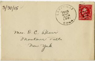 Letter from Eleanor Blair, Lakeville, Connecticut, to Mrs. D.C. Blair, Montour Falls, New York, 1915 March 30