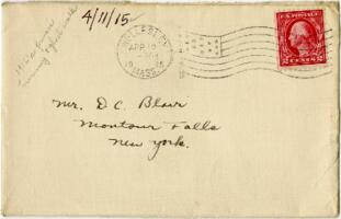 Letter from Eleanor Blair, to Mr. D.C. Blair, Montour Falls, New York, 1915 April 11