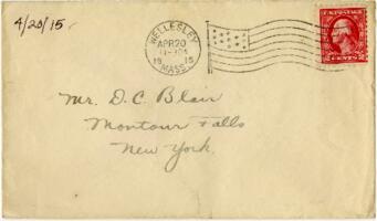 Letter from Eleanor Blair, Wellesley, Massachusetts, to Mr. D.C. Blair, Montour Falls, New York, 1915 April 20