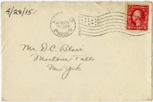 Letter from Eleanor Blair, Wellesley, Massachusetts, to Mr. D.C. Blair, Montour Falls, New York, 1915 April 28