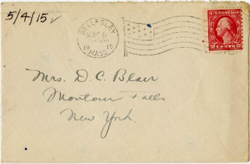 Letter from Eleanor Blair, Wellesley, Massachusetts, to Mrs. D.C. Blair, Montour Falls, New York, 1915 May 4